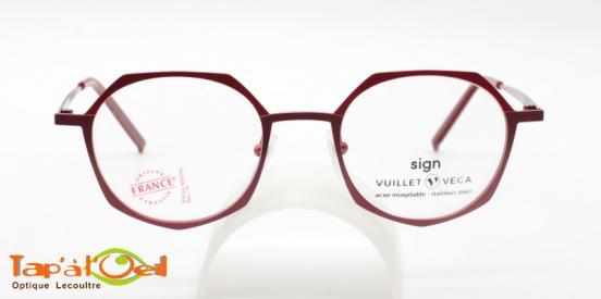 Vuillet Vega - Sign 5646 col 27 -  Monture femme hexagonale cerclée rouge
